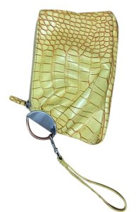 Buckle Leatherette Yellow Wristlet in Yellow/Orange
