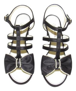 Chanel Bow Pearl Black Sandals