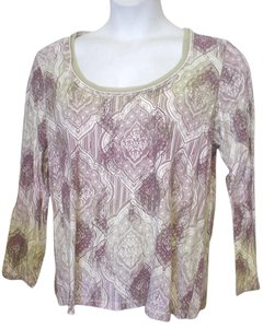 Axcess Long Sleeve Scoop Neck Ornate Pattern Casual T Shirt Ivory Purple Taupe