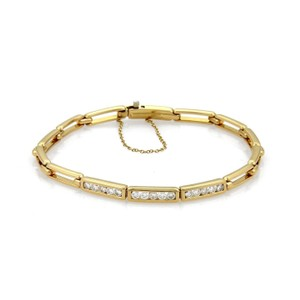 Tiffany & Co. Tiffany & Co. Diamond 18k Yellow Open Long Bar Link Bracelet