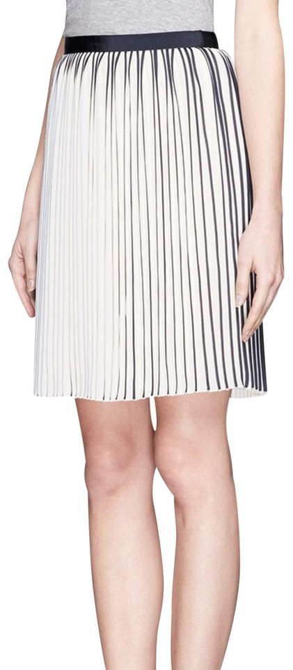 bf54fb49ab4d J.Crew Sunburst Pleated Navy and White Skirt Size 00 (XXS, 24) - Tradesy