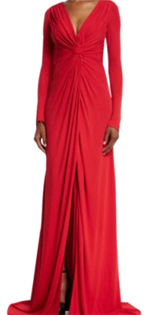 Badgley Mischka Red Jersey Sleeves Twisted Front Gown Long Formal Dress Size 6 (S) Badgley Mischka Red Jersey Sleeves Twisted Front Gown Long Formal Dress Size 6 (S) Image 1