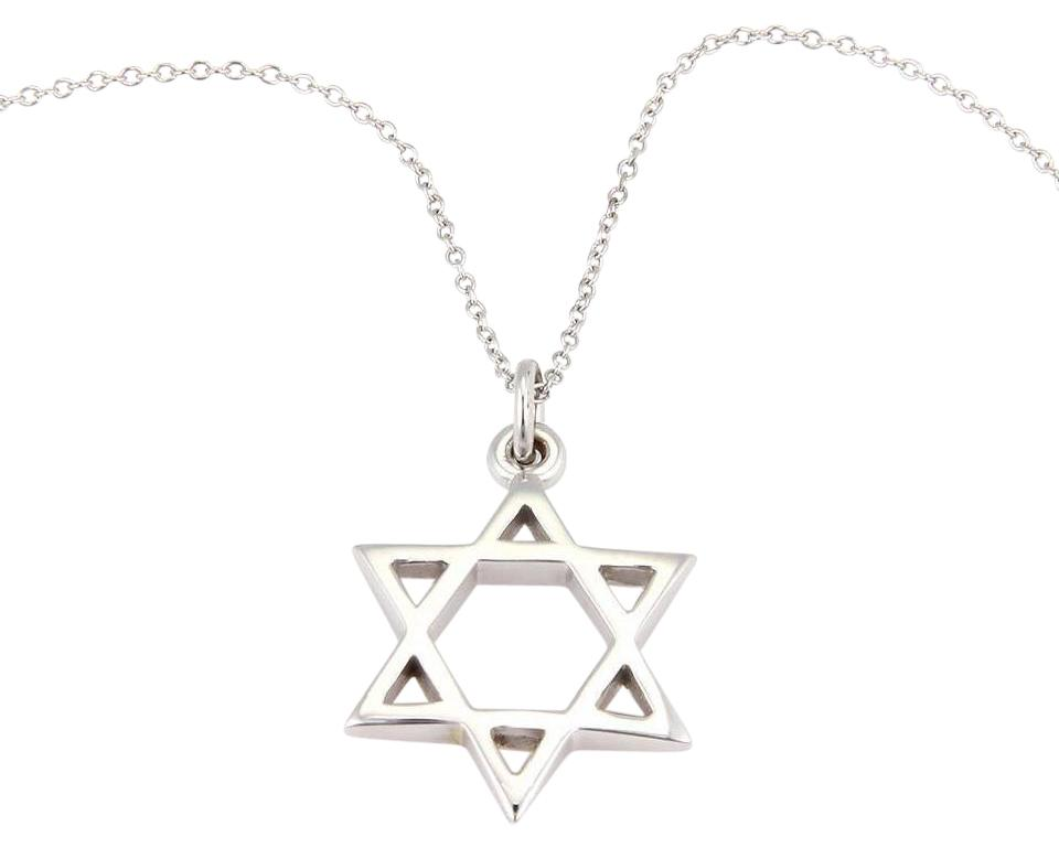 Tiffany co white gold star of david pendant italy necklace tradesy star of david pendant necklace in 18k white aloadofball Image collections