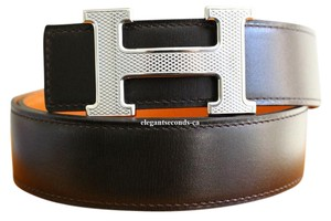 Hermès Black and Orange 32 mm Guilloche Reversible Constance Belt