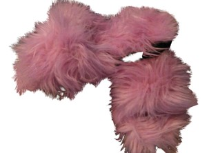 Other Pink faux fur peep toe mule slides size 9 Mules