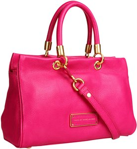 Marc by Marc Jacobs Too Hot To Handle Zip Pebbled Leather Satchel in Fuchsia