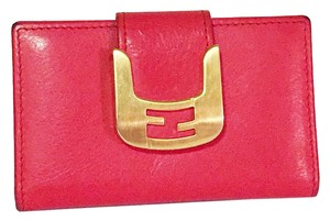 Fendi rare red leather fendi selleria chameleon snap button card wallet holder case