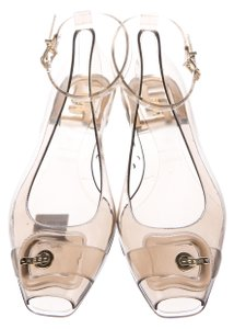 Fendi Jelly Ankle Strap Peep Toe Zucca Gold Hardware Brown, Clear, Beige, Black Flats