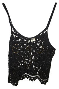 Free People Beaded Cut-out Top Black