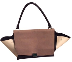 Céline Leather Tote in Grey, Black, and White