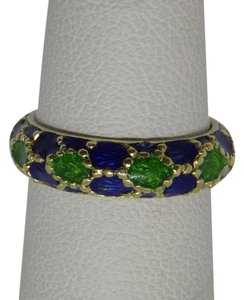 Tiffany & Co. TIFFANY 18K GOLD RING ENAMEL BAND BLUE & GREEN RARE!