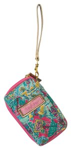 Lilly Pulitzer Gold Wristlet in Aqua & Pink