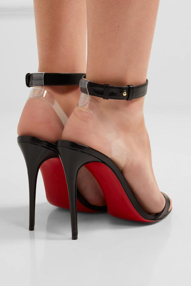 purchase cheap 75dee 04a55 Christian Louboutin Black New Jonatina 100 Leather Pvc Sandals Size US 10  Regular (M, B) 11% off retail