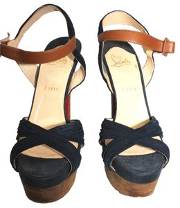 Christian Louboutin Peep Toe Suede Leather Wooden Heels Size Platforms