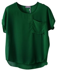 Other Shirt Chiffon Sheer Emerald Top Dark Forest Green