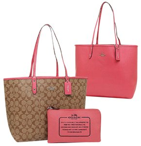 Coach Signature Monogram Canvas Tote in Khaki & Strawberry Pink