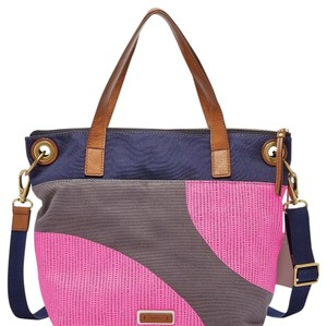 Fossil Tote in Pink, Navy, Gray