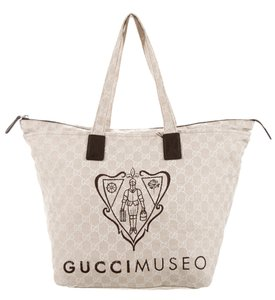 Gucci Silver Hardware Gg Monogram Bamboo Tote in Ivory, Beige