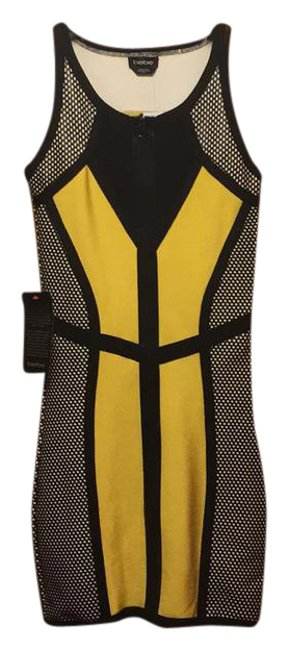 Item - Black/Yellow/White Scuba Mid-length Night Out Dress Size 8 (M)