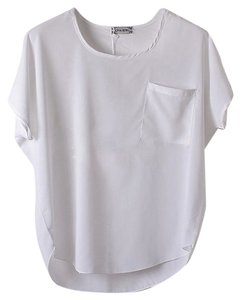 Other Chiffon Sheer T-shirt Top White