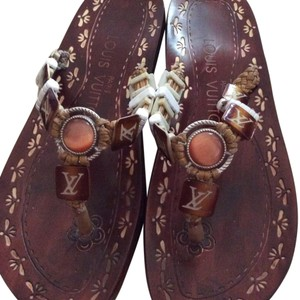 Authentic Louis Vuitton jewelry sandals Burgundy Flats
