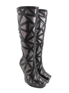 John Fluevog Wedge Statement Jeffrey Campbell Black and Silver Boots