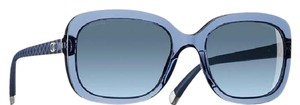 Chanel CHANEL Transparent Blue Matellasse Rectangle Quilted Sunglasses
