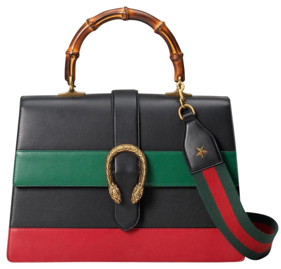 b5c9e5fdb04d Gucci Dionysus Striped Bamboo Top Handle Black Red Green Leather ...