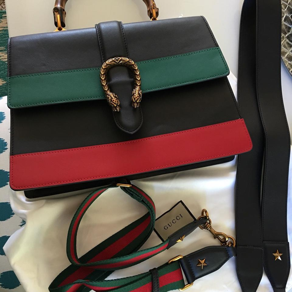 a138fcc5b218 Gucci Dionysus Striped Bamboo Top Handle Black Red Green Leather ...