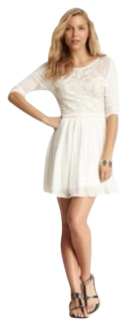 Item - Creme Lace Embroidered Detail Cotton Pockets Nwot Short Casual Dress Size 2 (XS)