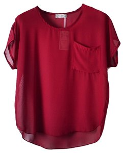 Red Shirt Chiffon T-shirt Top Burgundy, Wine, Maroon