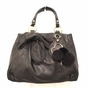 Juicy Couture Leather Tote Satchel in Black Gold