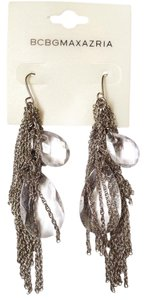 BCBGMAXAZRIA femme fatale silver fringe crystal earrings