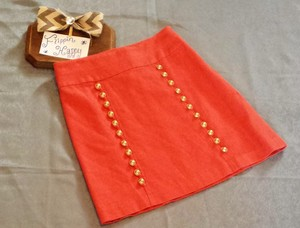 Anthropologie Patterned Empire Waist Military Mini Skirt Orange