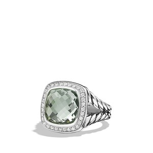David Yurman Petite Albion Ring with Prasiolite and Diamonds, 7mm