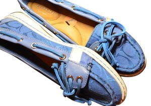 Coach Boatshoes Leather Fabric Blue Flats