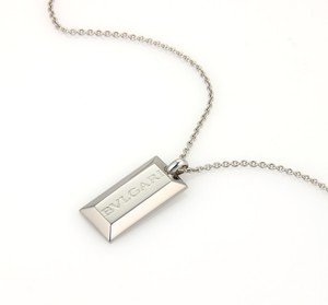 BVLGARI #15324 Bvlgari Ingot Bar 18k White Gold Pendant Necklace