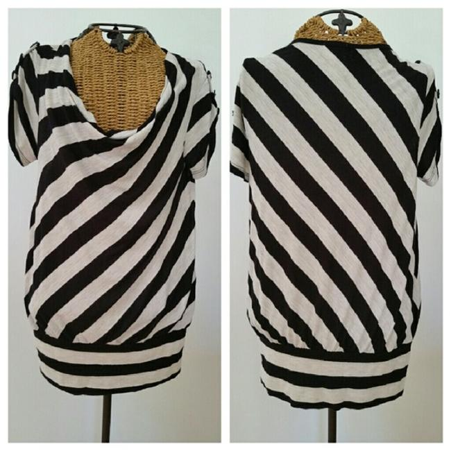 Item - Black Oatmeal Striped Buttons Are Fun Tee Shirt Size 6 (S)