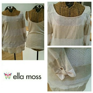 Ella Moss Lace Lightweight Cami Striped Twinset Sweater