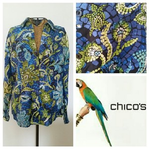 Chico's Turtles Silk Button Front Tropical Top Blue Green
