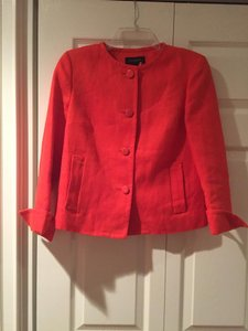 Talbots Linen Button Front Rolled Sleeve No Collar Orange Jacket