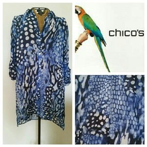 Chico's Water Button Front Cool Top blue