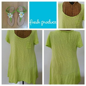 Fresh Produce Pocket Slub Flowing Assymetrical Scoop Neck T Shirt Lime