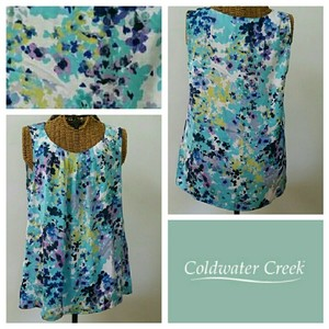 Coldwater Creek Tropical Floral Scoop Top Multi