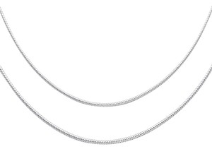 Top Gold & Diamond Jewelry 14K White Gold 1mm Sparkle Omega Necklace - 17