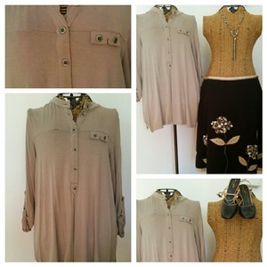 Soft Surroundings Button Front Comfy Easy Care Top Beige