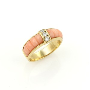 Van Cleef & Arpels Van Cleef & Arpels 18k Yellow Gold Diamonds & Coral Band Ring
