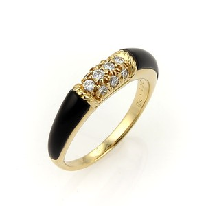 Van Cleef & Arpels #16284 Van Cleef & Arpels VCA Diamonds Onyx 18k Yellow Gold Band Ring