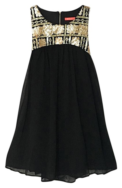 Item - Blk/Gold Sequin Flared Flowing Swing Baby Short Formal Dress Size 12 (L)