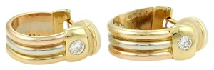 Cartier 15168 - 2 Solitaire Diamond 18k Tri-Color Gold Clip On Hoop Earrings